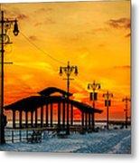 Coney Island Winter Sunset Metal Print