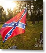Confederate Flag In An Old Cemetery Metal Print