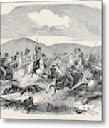 Conflict Between The 10th Hussars And Cossacks Metal Print