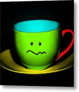 Confused Colorful Cup And Saucer Metal Print
