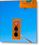 Confusing Green Red Traffic Lights Sky Copyspace Metal Print