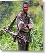 Congolese Soldier Standing Guard Metal Print