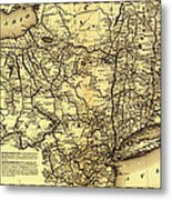 Connecticut And Western Railroad Map 1871 Metal Print