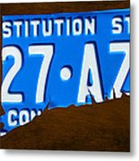 Connecticut State License Plate Map Metal Print
