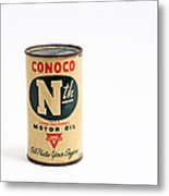 Conoco Motor Oil Piggy Bank - Antique - Tin Metal Print by Andee Design