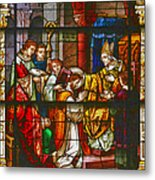 Consecration Of St Augustine Stained Glass Window Metal Print