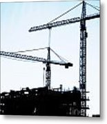 Construction Cranes Metal Print
