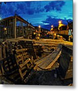Construction Site At Night Metal Print