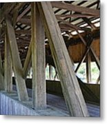 Construction Under The Roof - Jackson Covered Bridge Nh Metal Print