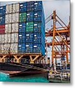 Container Cargo Freight Ship With Working Crane Loading Metal Print