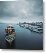 Container Ship In Halifax Harbour Metal Print