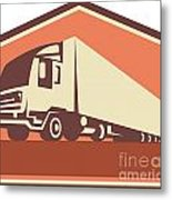 Container Truck And Trailer Flames Retro Metal Print
