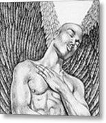Contemplating Black Male Angel  Metal Print