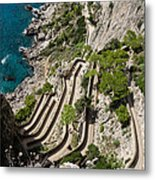 Contemplating Mediterranean Vacations - Via Krupp Capri Island Italy Metal Print