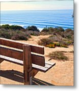 Contemplation Bench At The Oceans Edge Metal Print