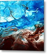 Contemporary Blue Abstract Art Fluid Painting-rapid By Kredart Metal Print