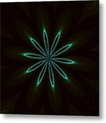 Contemporary Teal Floral On Black Metal Print