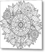 Contoured Mandala Shape Flowers For Metal Print