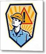 Contractor Construction Worker Caution Sign Retro Metal Print