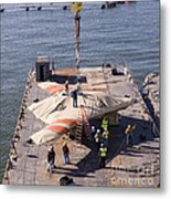 Contractors Hoist The X-47b Unmanned Metal Print