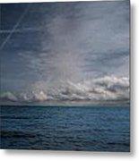 Contrails And Rainclouds Over Lake Michigan Metal Print