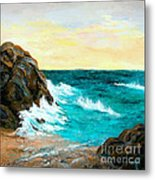 Contrails In The Sand Metal Print by Larry Martin