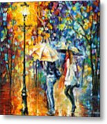 Conversation - Palette Knife Oil Painting On Canvas By Leonid Afremov Metal Print