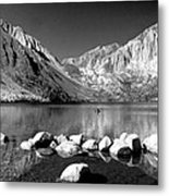 Convict Lake Pano In Black And White Metal Print
