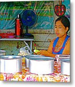 Cooking In The Marketplace In Tachilek-burma Metal Print