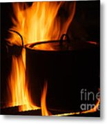 Cooking Pot On Fire Finland Metal Print