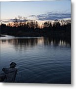 Cool Blue Ripples - Lake Shore Eventide Metal Print