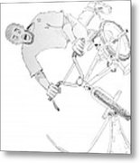 Cool Bmx Drawing Metal Print by Mike Jory