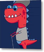 Cool Dinosaur Character Design Metal Print