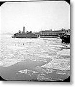 Cooper's Point Barge Hudson River C 1900 Metal Print