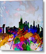 Copenhagen Watercolor Skyline Metal Print