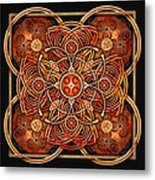 Copper And Gold Celtic Cross Metal Print