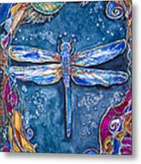Copper Dragonfly Metal Print