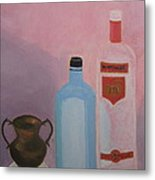 Copper Jug With Glass Bottles Metal Print
