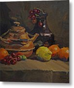 Copper Tea Pot And Fruit Metal Print
