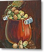 Copper Kettle Of Grapes Metal Print