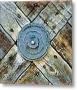 Copper Medalion On Weathered Gate-new Mexico Metal Print