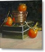 Copper Pot And Persimmons Metal Print