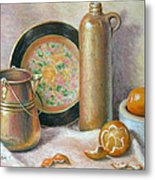Copper Pot With Tangerines Metal Print by Theresa Shelton