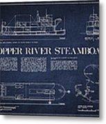 Copper River Steamboats Blueprint Metal Print