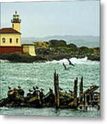 Coquille River Lighthouse And Birds Metal Print
