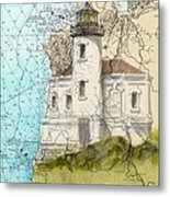 Coquille River Lighthouse Or Nautical Chart Map Art Cathy Peek Metal Print