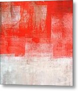 Tinted - Beige And Coral Abstract Art Painting Metal Print