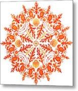 Coral Crab Mandala Metal Print