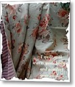 Coral Rose Quilt With Quote Metal Print