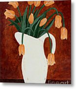 Coral Tulips In A Milk Pitcher Metal Print